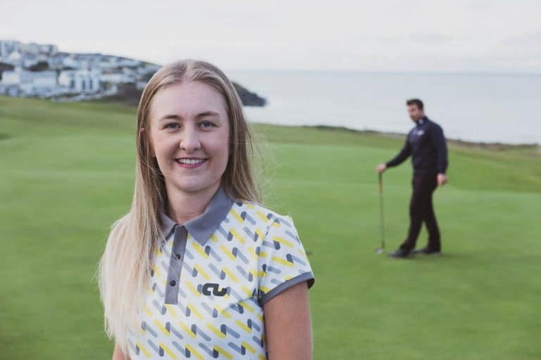 An image of a female golfer wearing a Traditional Collar shirt.