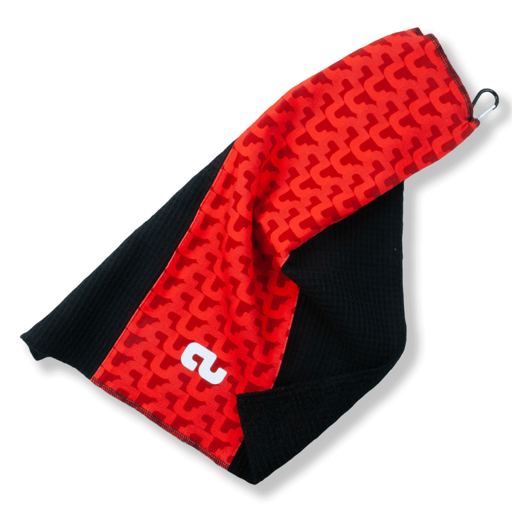An example of a Go Low custom golf towel